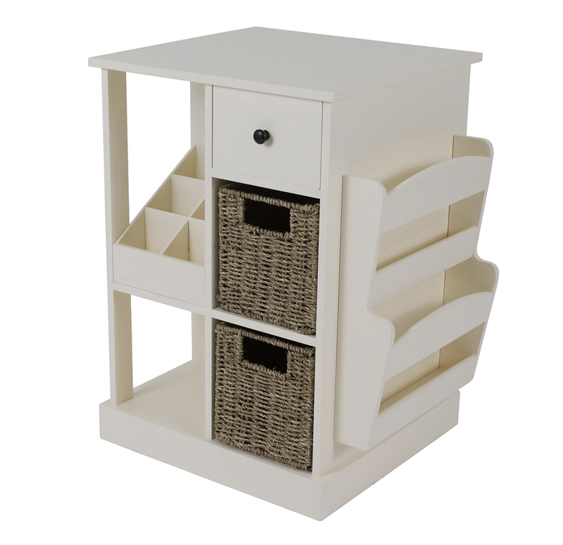 Décor Therapy White Accent Table with Storage and Shelves