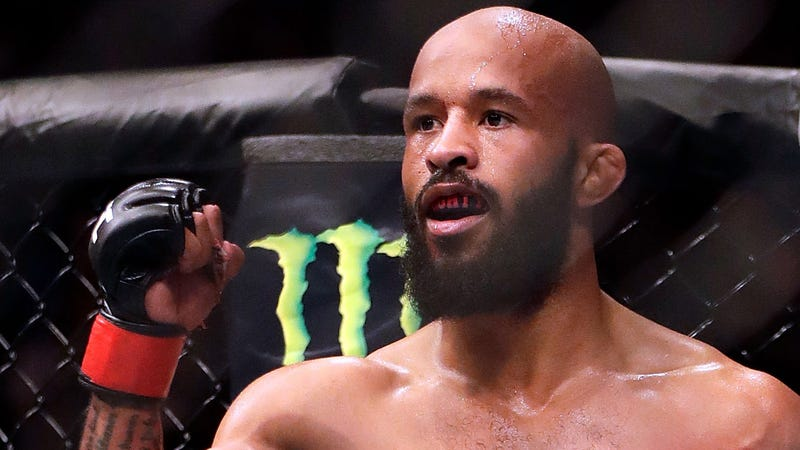 Demetrious Johnson pumps his first after a fight in UFC.