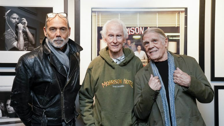 Timothy White, Robby Krieger and Henry Diltz at the Sunset Marquis on February 08, 2020 in West Hollywood, California.