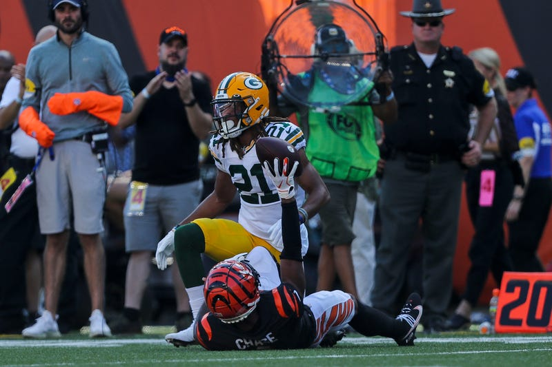 Oct 10, 2021; Cincinnati, Ohio, USA; Cincinnati Bengals wide receiver Ja'Marr Chase (1) reacts after catching a pass against Green Bay Packers cornerback Eric Stokes (21) in the second half at Paul Brown Stadium. Mandatory Credit: Katie Stratman-USA TODAY Sports