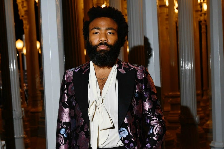 Donald Glover, wearing Gucci, attends the 2019 LACMA Art + Film Gala
