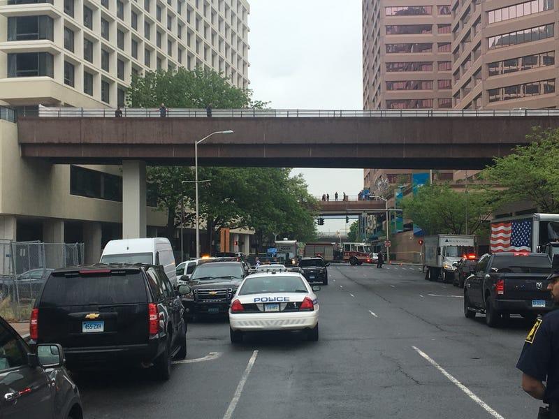 The scene outside the Hartford apartment building where Officer Jill Kidik was stabbed
