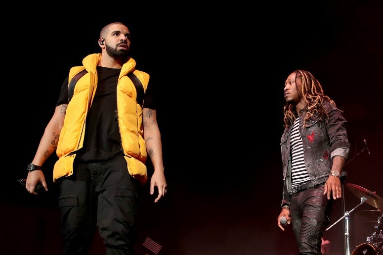 Drake and Future during day 2 of the Coachella Valley Music And Arts Festival at the Empire Polo Club on April 15, 2017