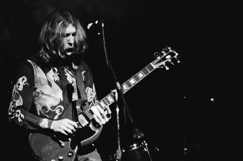Musician Duane Allman (1946 - 1971) of American rock group The Allman Brothers Band performs at Fillmore East