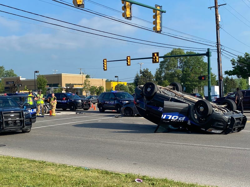 Police vehicle involved in rollover crash on Ford and Haggerty in Canton