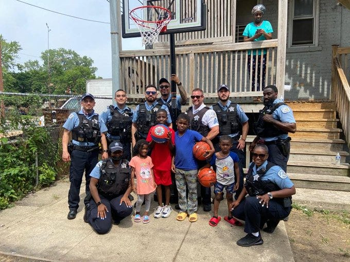 Chicago police officers noticed a group of children in the neighborhood playing basketball using a milk crate as their hoop. The officers saw an opportunity to help the kids with their game, so they got together to buy them a new hoop and basketballs.