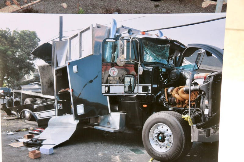 The destroyed containment vehicle after the LAPD bomb squad's South LA detonation of seized fireworks on June 30.