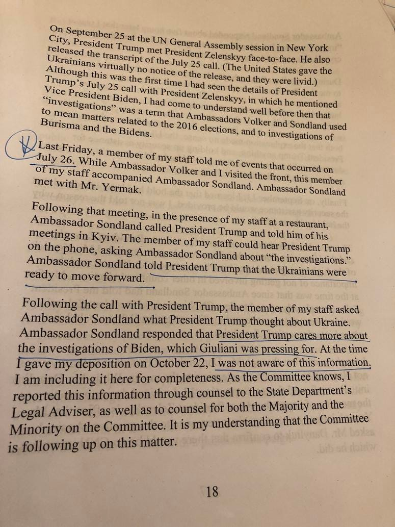 Rep. Jackie Speier (D-San Mateo) tweeted this photo showing notes on Ambassador William Taylor's testimony on Nov. 13, 2019.