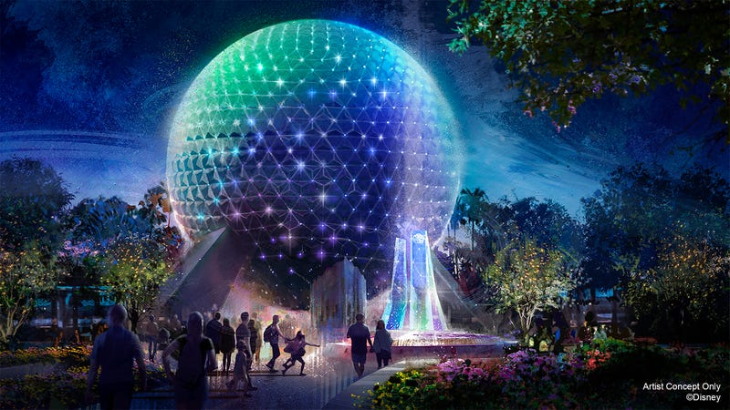 Artist concept of Spaceship Earth at EPCOT during WDW's 50th anniversary celebration