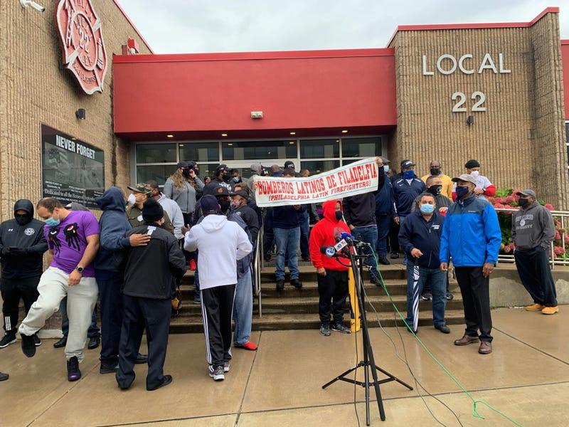 Philadelphia firefighters protest Local 22 over presidential endorsement.