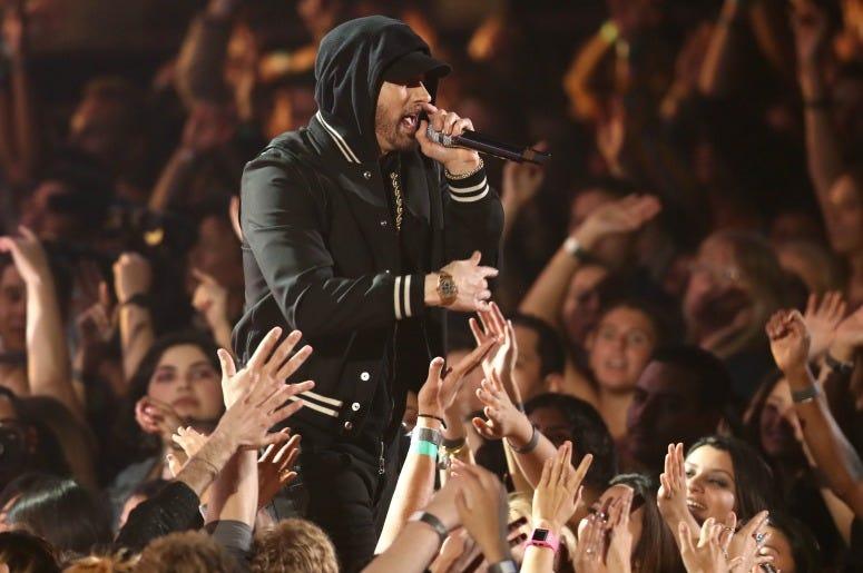Eminem performs onstage