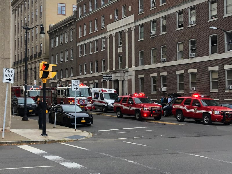 Emergency vehicles outside of Erie County Board of Elections. September 28, 2020