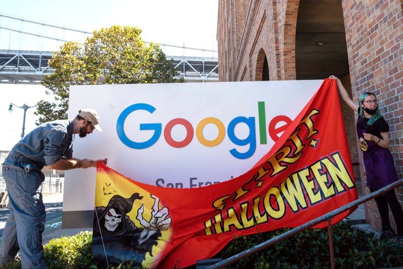 """The team of internet pranksters put up a fake """"Spirit Halloween"""" sign over the Google sign in San Francisco."""