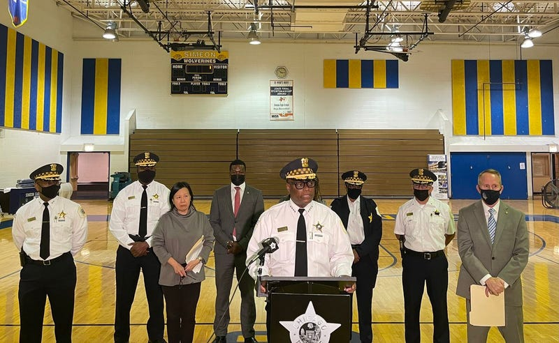 Chicago Police Superintendent David Brown, along with CPS officials, held a press conference at Simeon High School.