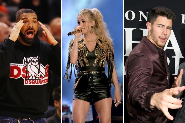 Drake, Carrie Underwood, Nick Jonas