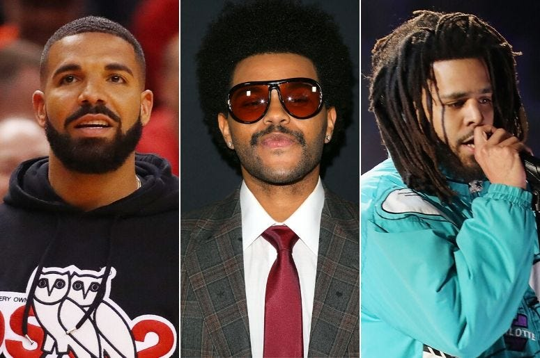 Drake, The Weeknd, and J. Cole