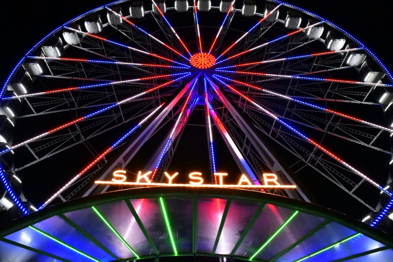 The SkyStar Observation Wheel was made in Holland. It has six-passenger gondolas, going to a height of 15 stories during a 12-minute ride.