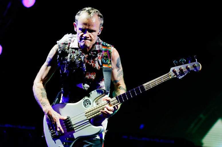 Flea of Red Hot Chili Peppers performs during the Lollapaloosa Sao Paulo 2018