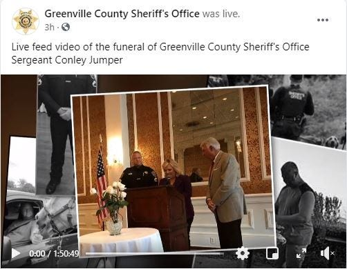 Greenville County Sheriff's Office Facebook live-stream of funeral for Sgt. Conley Jumper