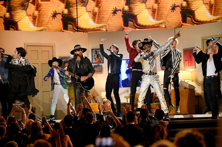 Billy Ray Cyrus, BTS and Lil Nas X perform onstage during the 62nd Annual GRAMMY Awards