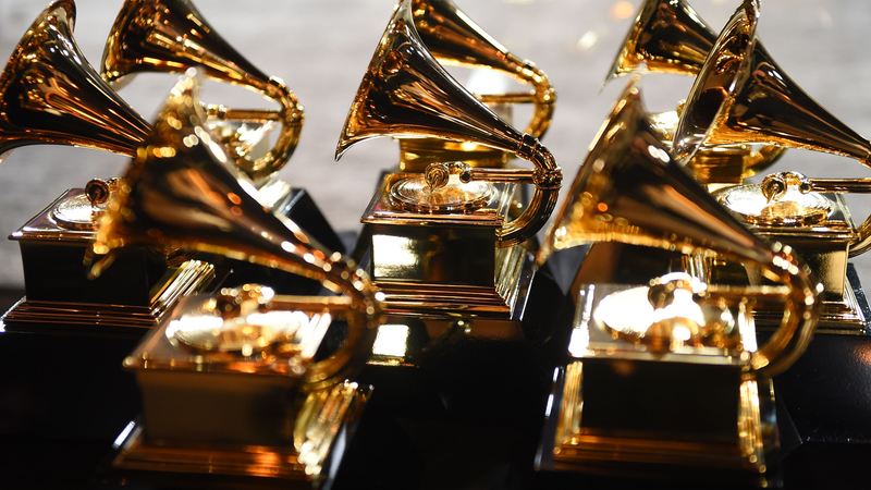 Grammy trophies sit in the press room during the 60th Annual Grammy Awards on January 28, 2018