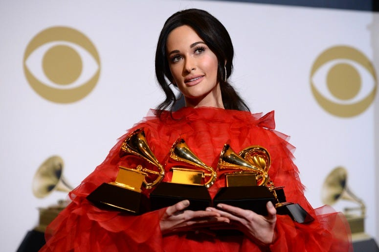 Kacey Musgraves, winner of Album of the Year, Best Country Album, Best Country Song, and Best Country Solo Performance