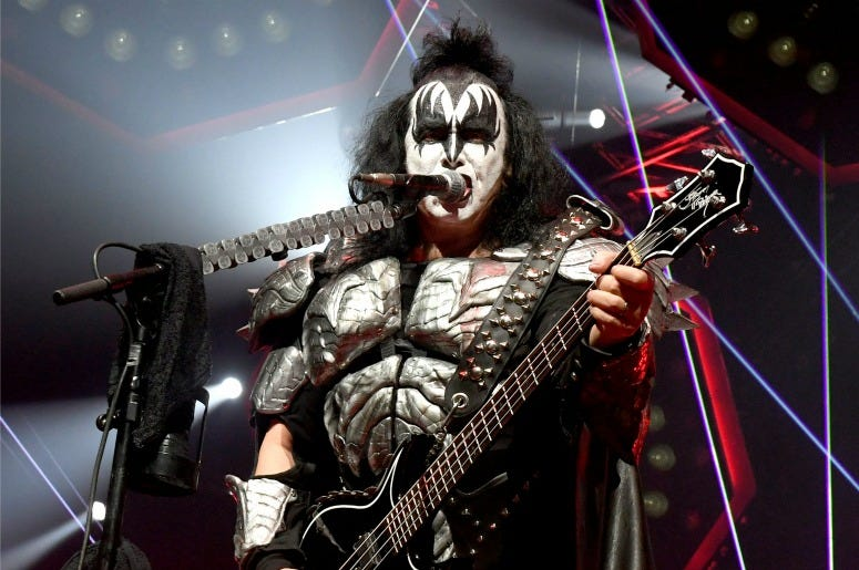 Gene Simmons of KISS performs during their End Of The Road World Tour at The Forum on February 16, 2019