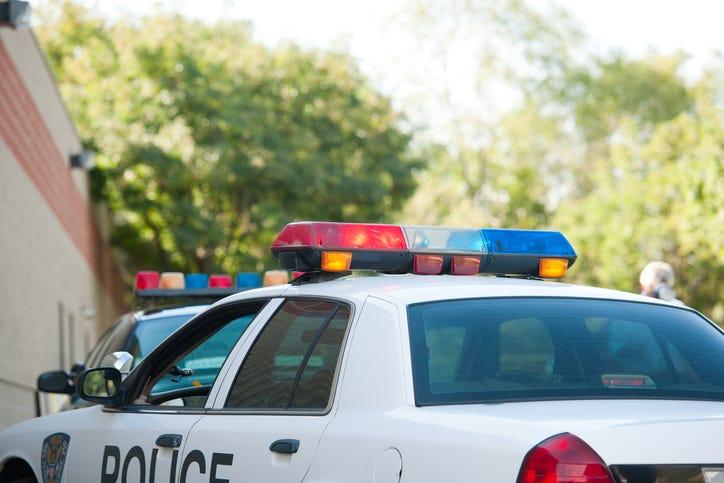 Police Car Outside Station