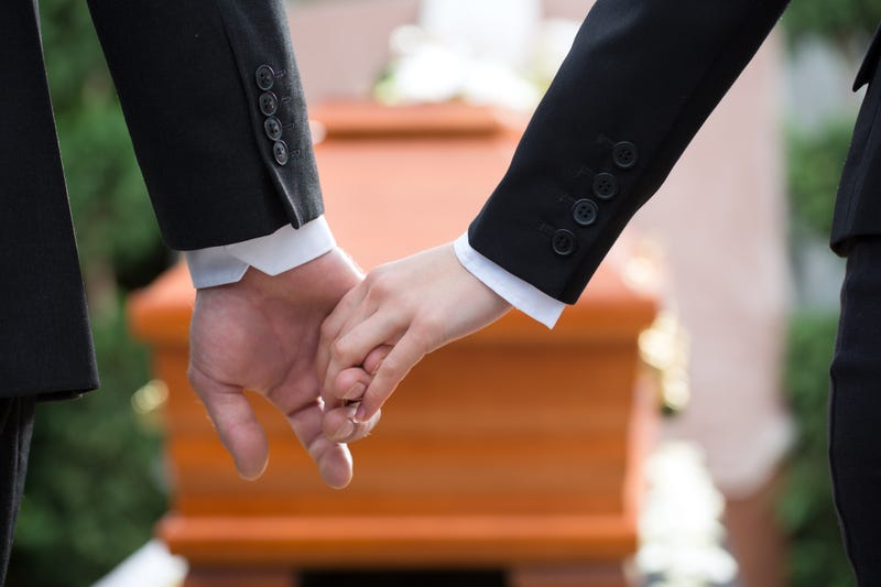 Funeral Home, Casket, Coffin, Funeral, Couple Holding Hands