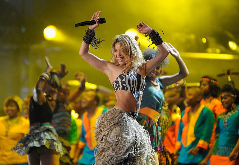 Shakira performs a song during the kick-off celebration concert for the 2010 FIFA World Cup