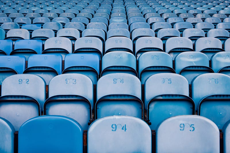 Empty bleachers in a sports stadium