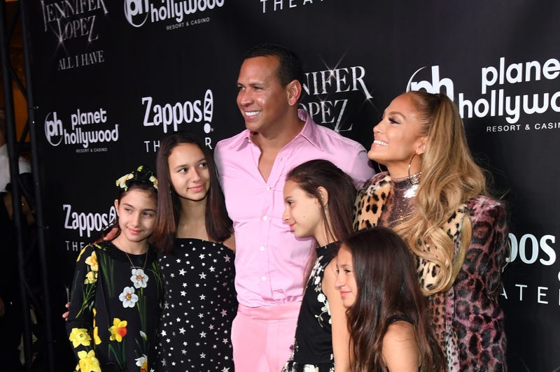 """Alex Rodriguez, Planet Hollywood headliner Jennifer Lopez and family on the red carpet following the finale performance of Lopez's record-breaking residency, """"JENNIFER LOPEZ: ALL I HAVE"""" on September 30, 2018 in Las Vegas, Nevada."""