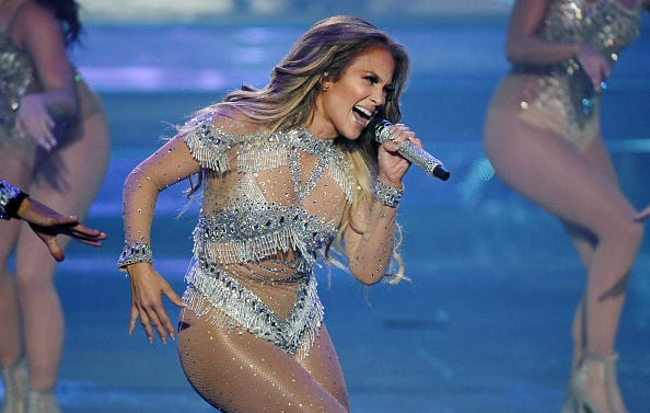 "Jennifer Lopez performs during the finale of her residency, ""JENNIFER LOPEZ: ALL I HAVE"" at Zappos Theater at Planet Hollywood Resort & Casino on September 29, 2018 in Las Vegas, Nevada."
