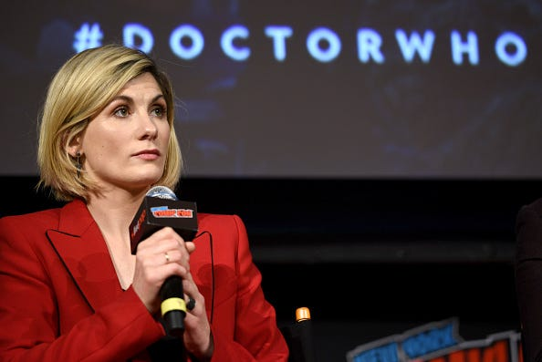 "Jodie Whittaker speaks at a ""Doctor Who"" convention."