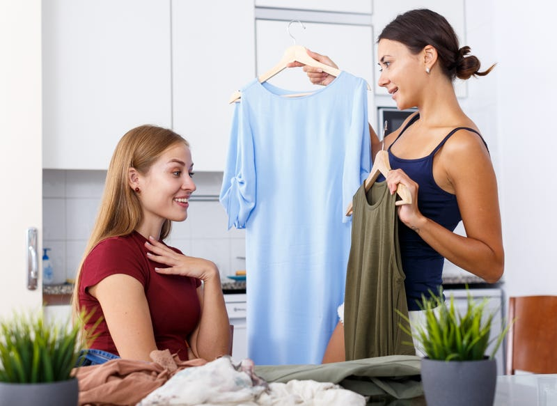 women have a clothing swap