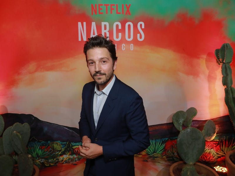 Diego Luna poses during Netflix Narcos Cocktail Party at Four Seasons Hotel in Mexico City, Mexico.