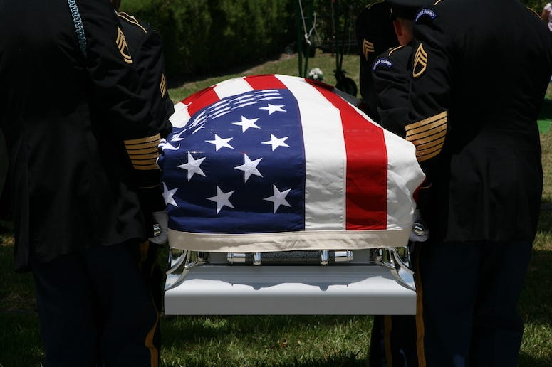 Coffin at military funeral