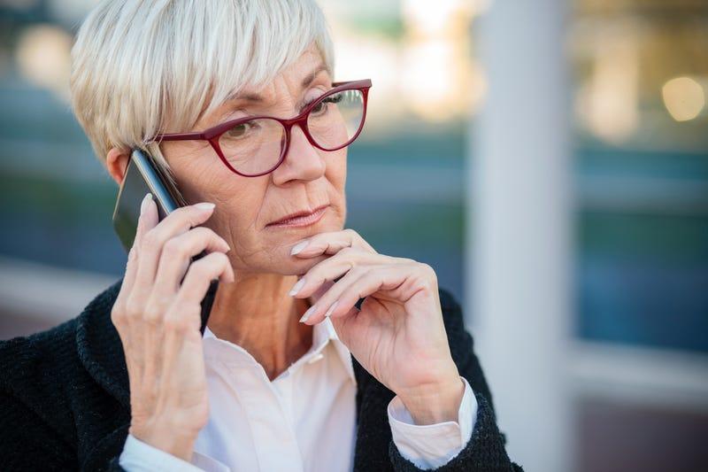 concerned mother on phone