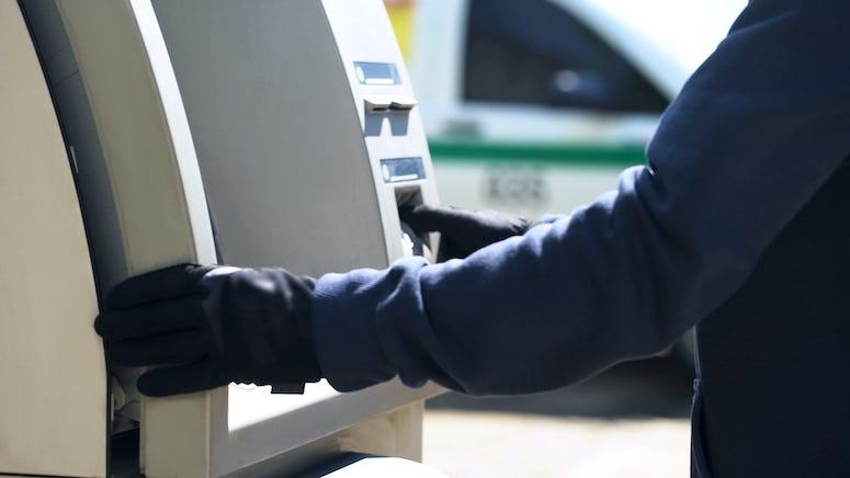 Man, Gloves, ATM, Cash Machine
