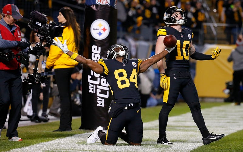 Antonio Brown celebrates another trip to the end zone