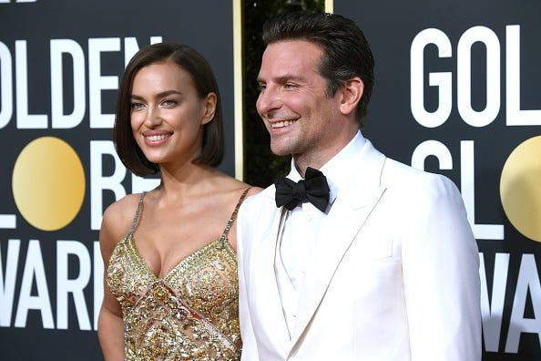 Irina Shayk and Bradley Cooper at the Golden Globe Awards.