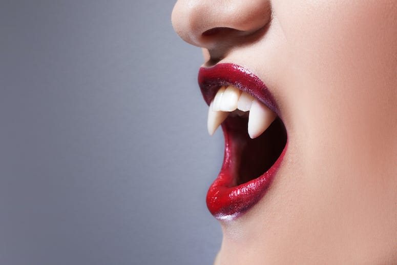 Vampire Teeth, Fangs, Woman, Lipstick