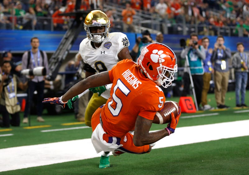 Tee Higgins secures a touchdown in a National Semi-Finals win over Notre Dame