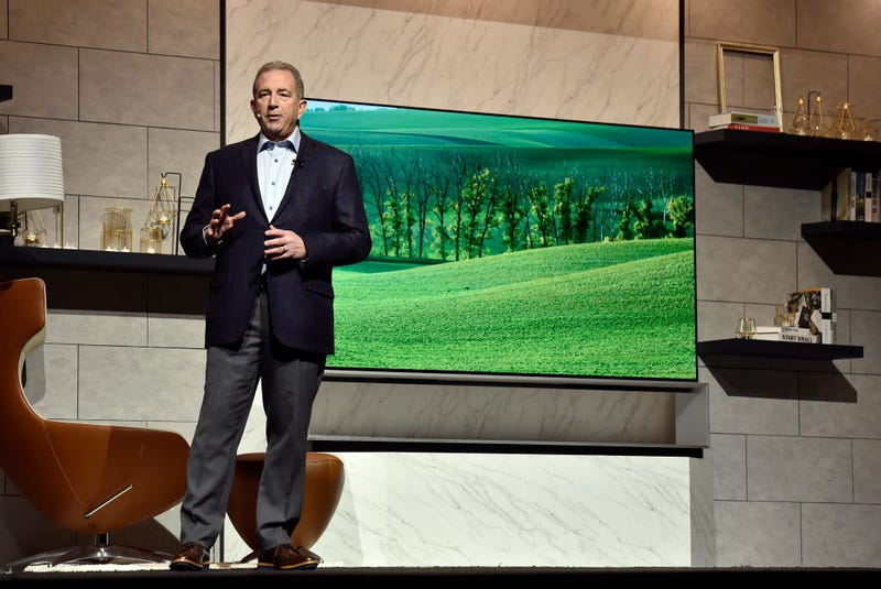 LG unveils an OLED 8K TV during a 2019 LG press event.