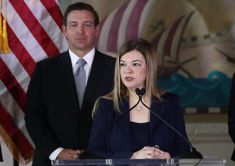 Newly sworn-in Gov. Ron DeSantis stands behind Barbara Lagoa as she speaks after he named her to the Florida Supreme Court on January 09, 2019 in Miami, Florida.