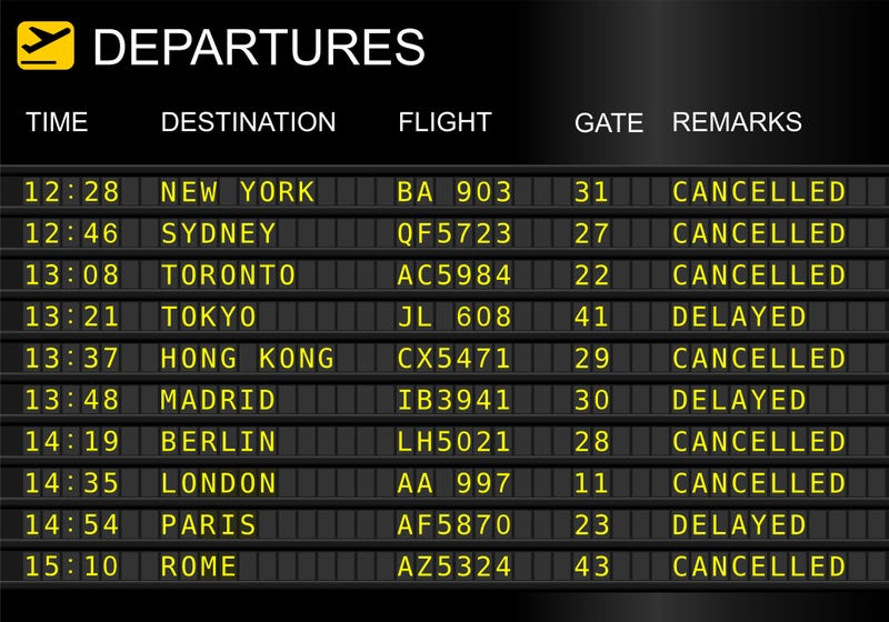An airport schedule board noting cancelations and delayed flights