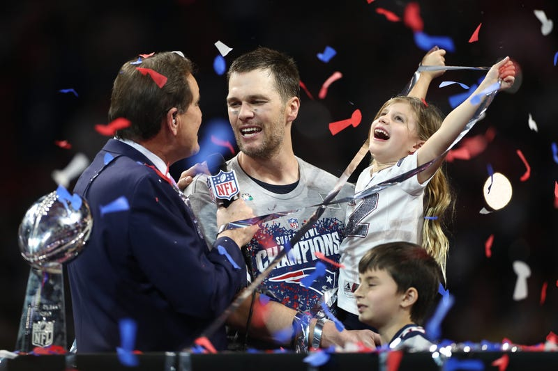 tom brady celebrity super bowl liii victory with kids