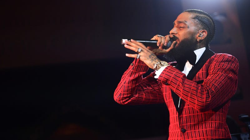 Nipsey Hussle performs onstage at the Warner Music Pre-Grammy Party at the NoMad Hotel on February 7, 2019