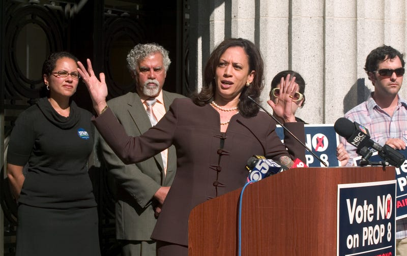 "San Francisco District Attorney Kamala Harris, center, tells the audience that California's Proposition 8, which would ban same sex marriage in the state, is not just intolerant but ""bad government,"" during a rally of Prop. 8 opponents outside city hall in Oakland, California on Tuesday, Oct. 21, 2008."