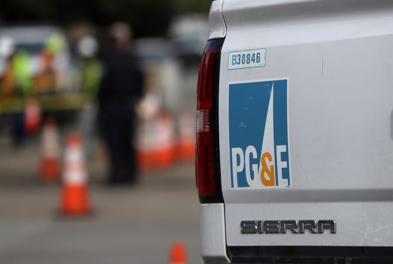 A Pacific Gas and Electric (PG&E) truck sits at the scene of a three-alarm fire that started after a construction crew hit a gas line on February 07, 2019 in San Francisco, California.